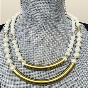 Unique Double Strand Pearl, Crystals & Gold Bars